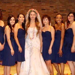 Navy David's bridal dress